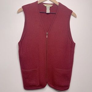 G.H Bass Wool Sleeveless Zip Up Red Vest Medium